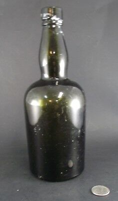 "Antique 10"" Green Bottle W P 15 Or Is"