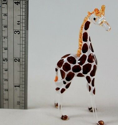 Giraffes Wild Animal Handmade Figurine Mini Hand Blown Glass Craft Dark Brown 2