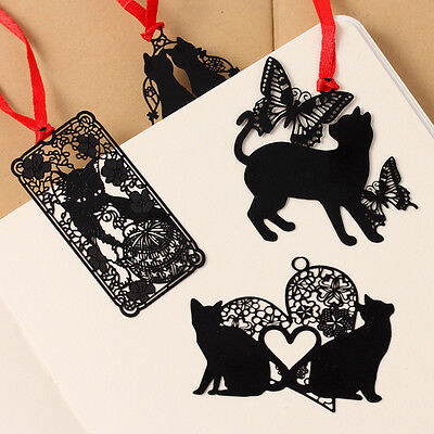 Black Cat &Butterfly Metal Bookmark Index Tab Notes Reading Accessory Gift 1pc