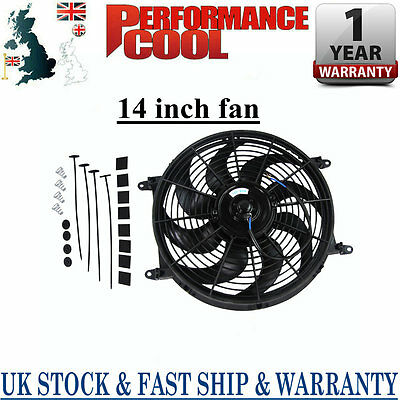 14'' Inch 12V Electric Pull Push Thermo Cooling Fan + Free Mounting kits