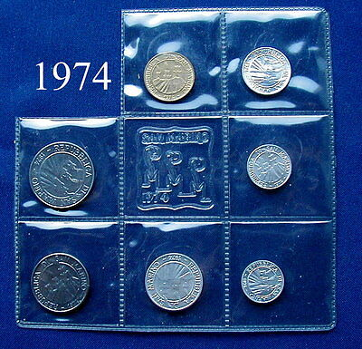 1974 SAN MARINO (Italy) complete set coins UNC without silver
