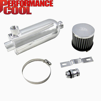 750ml Racing Turbo Engine Oil Catch Can Tank with Breather & Drain Tap NPT