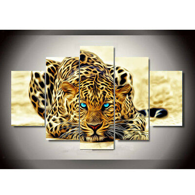 5 Unframed HD Canvas Prints Home Decor Wall Art Picture Painting 1 Leopard L
