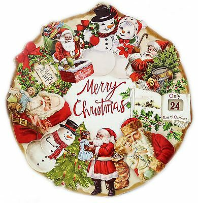 Round Wooden Hanging Traditional Merry Christmas Countdown Plaque Decoration
