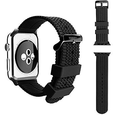 42mm TIRE TREAD Sport Silicone Rugged Black Buckle Apple Watch Band Series 2 & 1