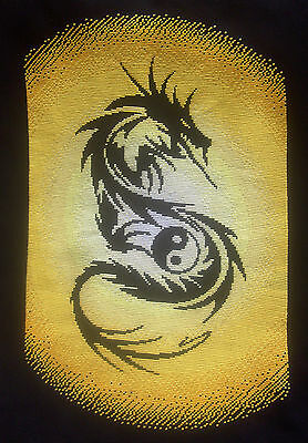 Yellow Dragon  - Finished completed Cross Stitch