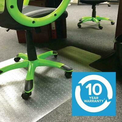 Clear Office Chair Desk T-Shape Carpet Protector Mat 90x120cm PVC Clear with ...