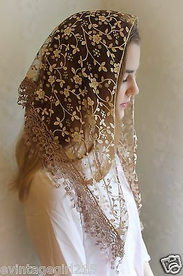 NEW Classic Mantilla Coffee Embroidered Chapel Veil Triangle Free Ship