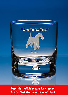 Fox Terrier Dog Gift Personalised Engraved Whisky Glass Tumbler