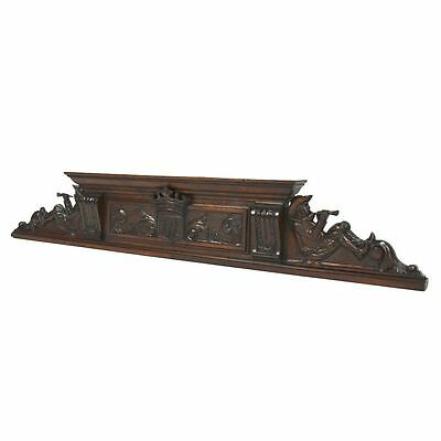 Antique French Carved Walnut Architectural Figural & Coat of Arms Pediment Crest