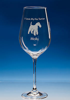 Fox Terrier Dog Gift Personalised Engraved Fine Quality Wine Glass