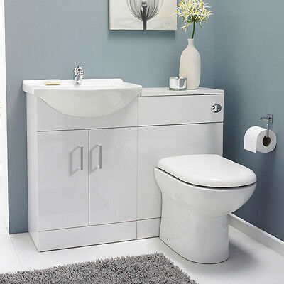 Bathroom Cabinets Back To Wall Toilet Basin Sink Suite Combi Vanity Unit 1050mm