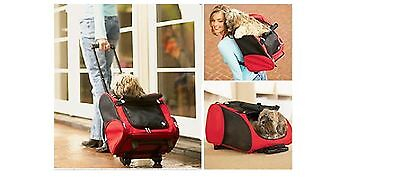 Strong Pet Dog Cat Puppy Carrier Travel Rolling Trolley Bag Wheels In Red Beige