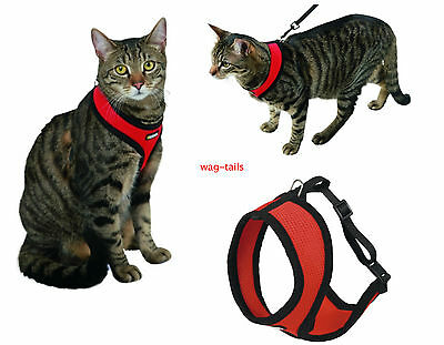 Red Soft Vest Cat Harness and Lead Set Kerbl 82644