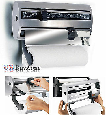 3 in 1 Kitchen Roll Holder Cling Film Tin Foil Towel Wall Mounted Dispenser Rack
