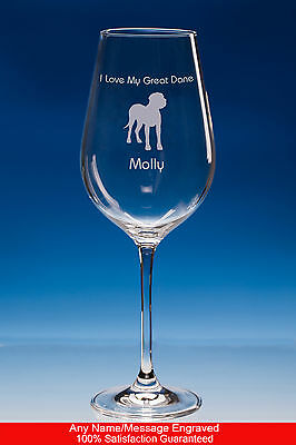 Great Dane Dog Gift Personalised Engraved Fine Quality Wine Glass