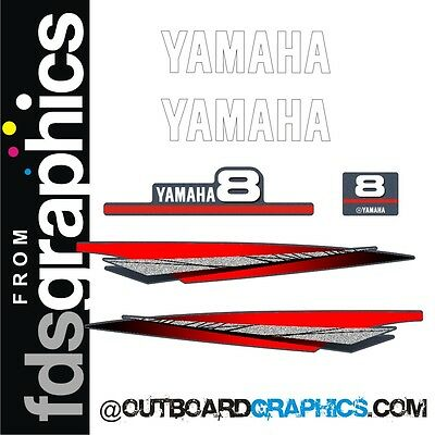 Yamaha 8hp 2 stroke outboard engine graphics/sticker kit