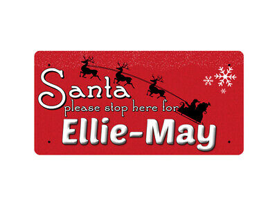 WP_XMAS_1324 Santa please stop here for Ellie-May - Metal Wall Plate