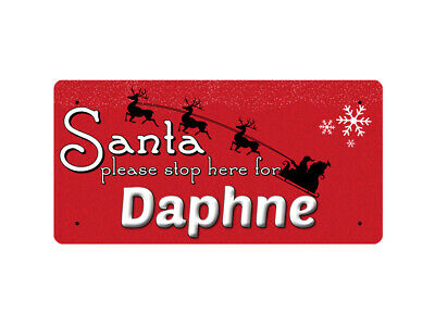 WP_XMAS_1680 Santa please stop here for Daphne - Metal Wall Plate