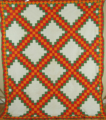 1860's Red, Green & Cheddar Triple Irish Chain Antique Quilt Top ~DIAMOND BORDER