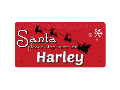 WP_XMAS_1858 Santa please stop here for Harley - Metal Wall Plate