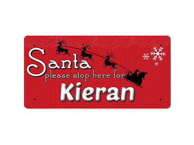 WP_XMAS_2111 Santa please stop here for Kieran - Metal Wall Plate