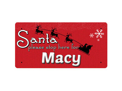 WP_XMAS_2295 Santa please stop here for Macy - Metal Wall Plate