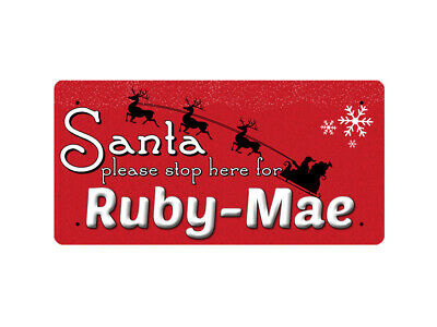 WP_XMAS_2670 Santa please stop here for Ruby-Mae - Metal Wall Plate