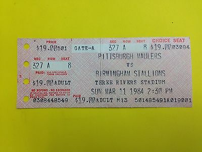 1984 Pittsburgh Maulers ticket  FIRST GAME vs Birmingham Stallions March 11 USFL