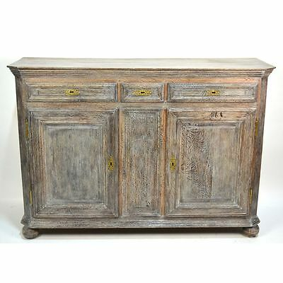 18th century Antique French Country Louis XV Limed Cerused Carved Oak Buffet