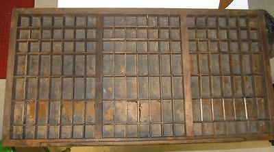 Large Antique  Printers Type Drawer Case Shadow Box Tray Button sorter 120 slots
