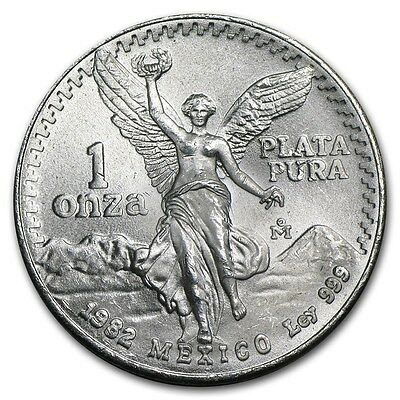 (1) 1982 Silver Mexican Libertad Onza! First Year Uncirculated! .999 Silver!