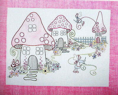 Stitching Fairies, Colour version - embroidery Kit - PATTERN, fabric & floss