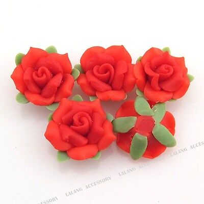 20pcs Wholesale Green Leaf Red Flower Charms Fimo Polymer Clay Spacer Beads J