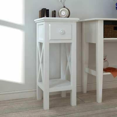 #b White Wood Telephone Side Table with Drawer End Table Plant Stand Nightstand
