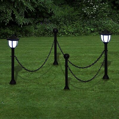 #b New Garden Patio Yard Chain Fence with Solar Lights Two LED Lamps Two Poles