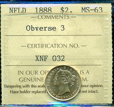 1888 Newfoundland, Queen Victoria, $2 Gold Obv. #3, ICCS Certified MS63