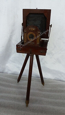 "Vintage Antique Brass Decorative Projector With brown Tripod 14"" Home Decor"
