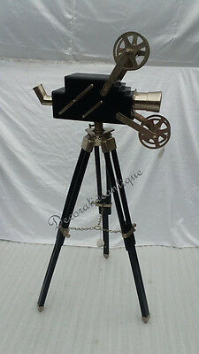 Antique Style Hollywood Decorative Lamp Projector with Wooden Tripod Home Decor