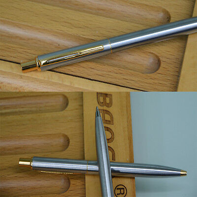 NEW BAOER37 Stainless Steel Metal Ballpoint Pen Silver Trim