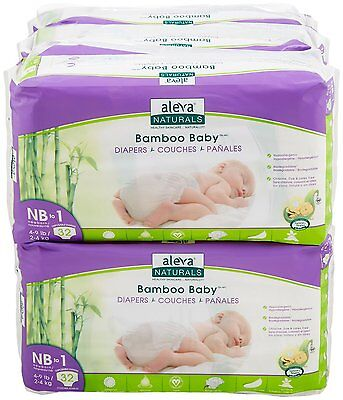 Cables To Go 37844 Aleva Naturals Bamboo Diaper Accs Nb To 1 4-9lbs/2-4kg 32ct