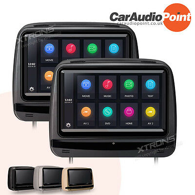 """2x 9"""" Car Headrest Pillow Rear Monitor Touch Screen Display DVD Player Game HDMI"""