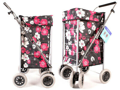 Shopping Trolley Caged Strong Folding Flat Bag 6 Wheel Light weight Case