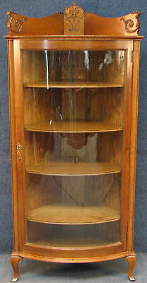 1920s American Carved Oak Bow Front Corner Display Cabinet