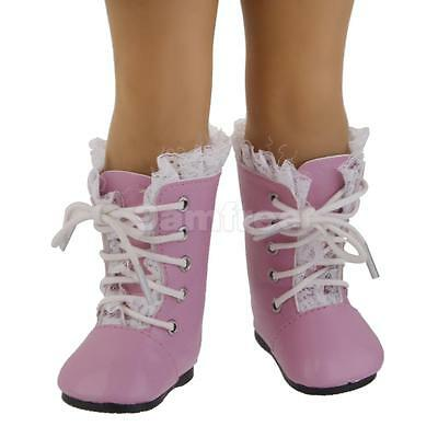 Pink Lace Up Boots Shoes for 18'' American Girl Journey Our Generation Doll