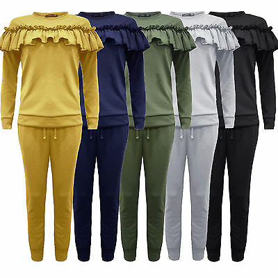New Women Ladies Two Piece Frill Detail Ruffle Lounge Wear Sweatshirt Tracksuit