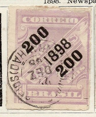 Brazil 1898 Early Issue Fine Used 200r. Surcharged 097266