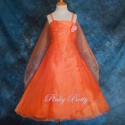 Organza Dress & Shawl Wedding Flower Girl Bridesmaid Party Kid Age 2y-12y FG129