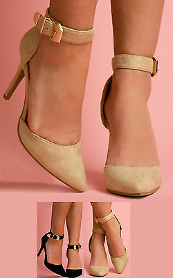Women's Ladies Glam Faux Suede Pointed Toe Ankle Strap High Heels