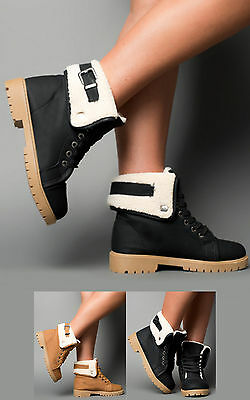 Women's Ladies Faux Shearling Low Heel Cosy Ankle Boots